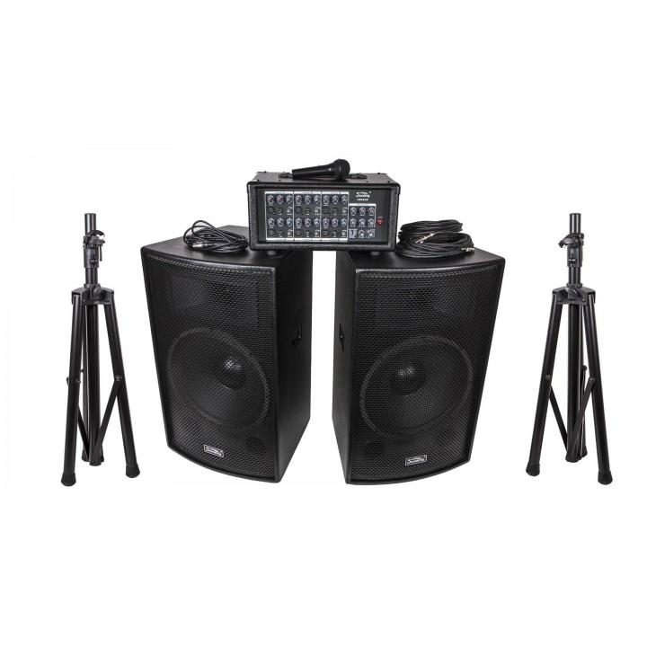 ZH0602D15LS Комплект акустической системы - Soundking 2х250Вт (микшер, микрофон, кабели,стойки)