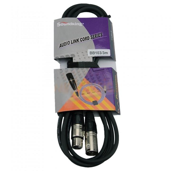 BB103-3M Кабель микрофонный - XLRm-XLRf - Soundking  (3 метра)