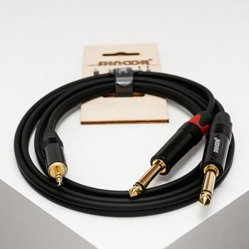 MJ2JM-3m Y-кабель 3,5 мм миниджек - 2 моно-джека 6,3 мм - SHNOOR