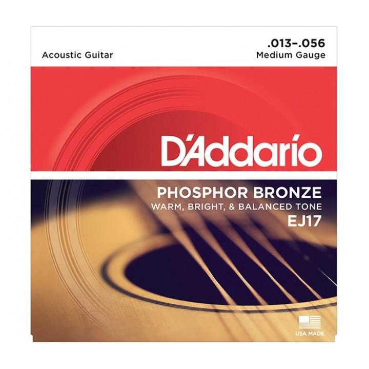 EJ17 Струны для акустической гитары - D'ADDARIO (13-56)
