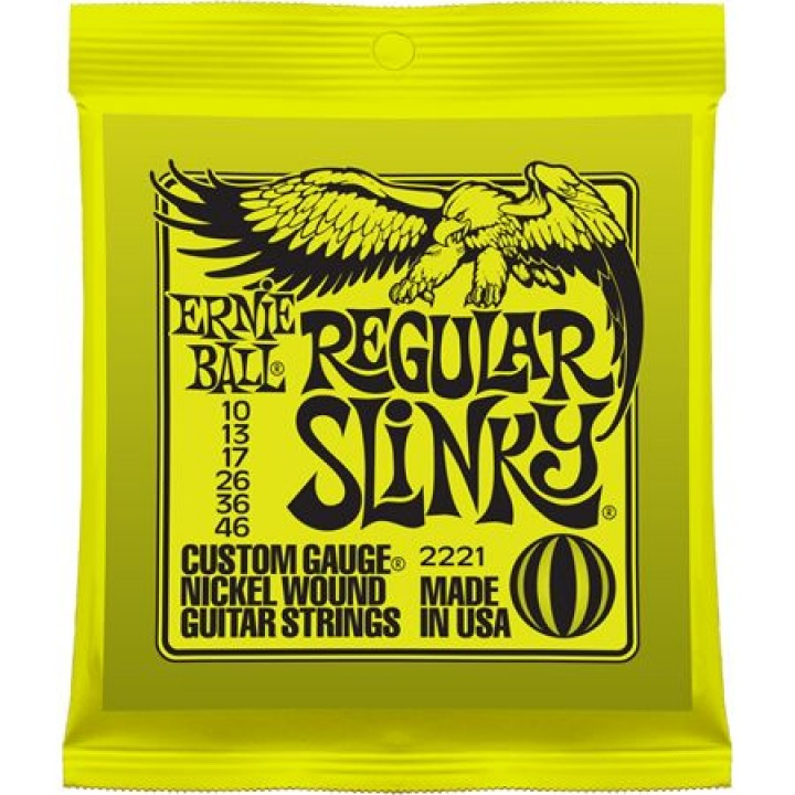 P02221 Regular Slinky Комплект струн для электрогитары, никель, 10-46, Ernie Ball