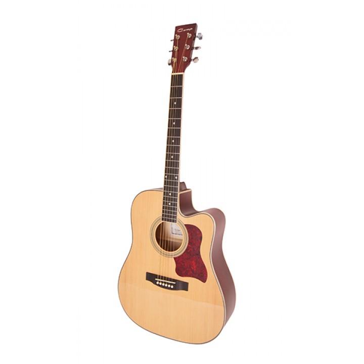 F641-N Акустическая гитара, с вырезом, цвет натуральный - Caraya