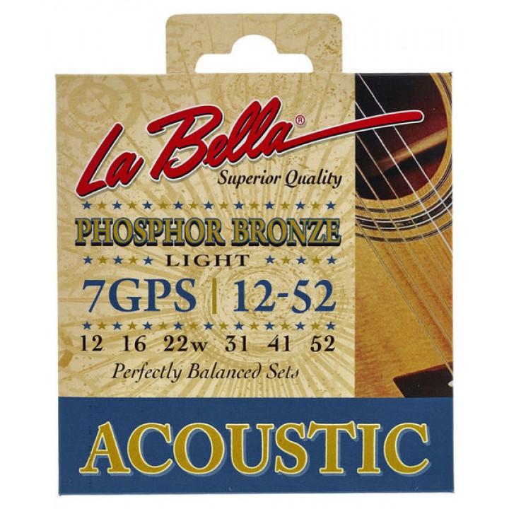7GPS Комплект струн для акустической гитары - La Bella 7GPS 12-52