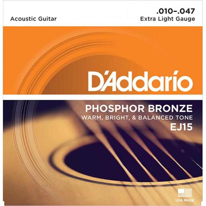 EJ15 PHOSPHOR BRONZE Струны для акустической гитары - D'ADDARIO (10-47)