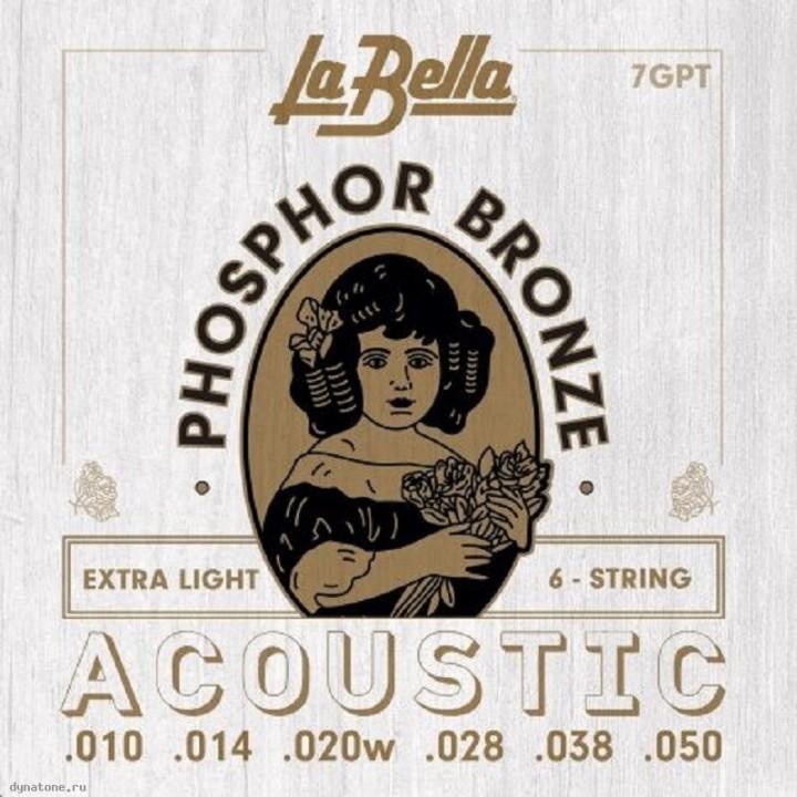 7GPT Комплект струн для акустической гитары - La Bella 10-50