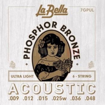 7GPUL Комплект струн для акустической гитары - La Bella 9-48