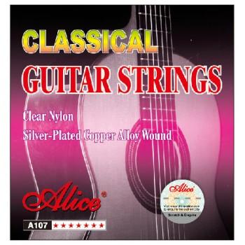 AC107-N Комплект струн для классической гитары, нейлон, посеребренные - Alice