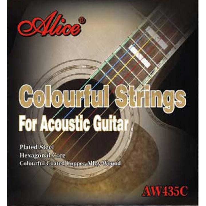 AW435С-SL Комплект струн для акустической гитары, цветные, медь, 11-52 - Alice