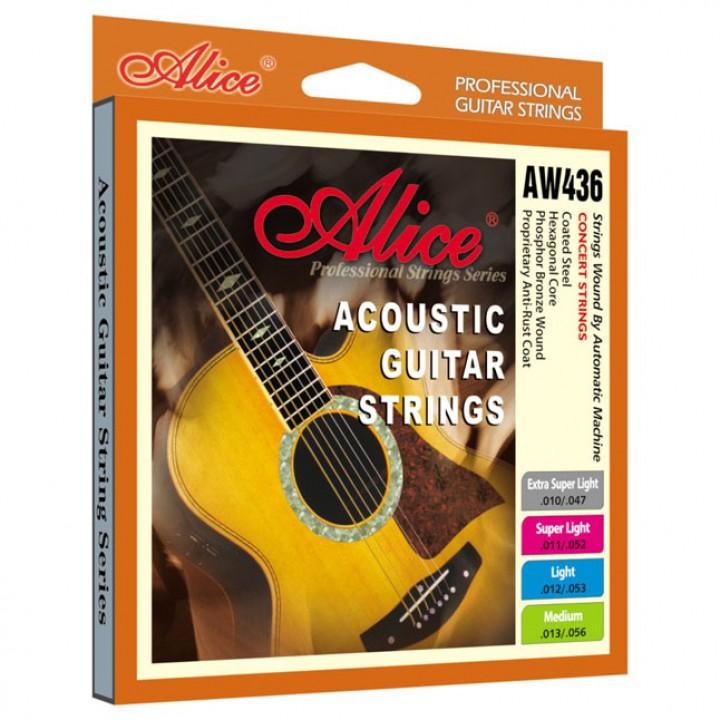 AW436-XL Комплект струн для акустической гитары, фосфорная бронза 10-47 - Alice