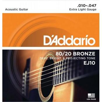 EJ10 Струны для акустической гитары - D'ADDARIO