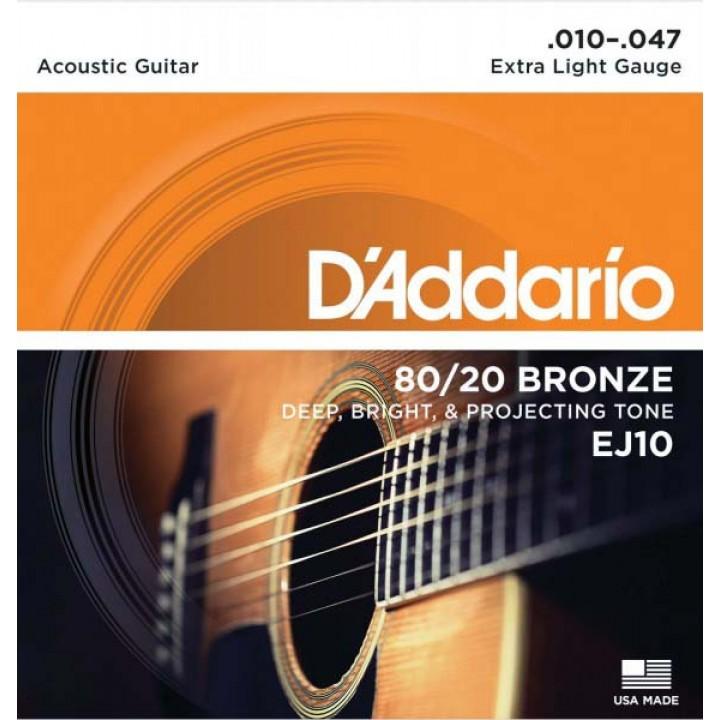 EJ10 Струны для акустической гитары - D'ADDARIO (10-40)
