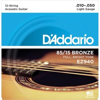 EZ940 AMERICAN BRONZE 85/15 Струны для 12-струнной акустической гитары Light 10-50 - D`Addario