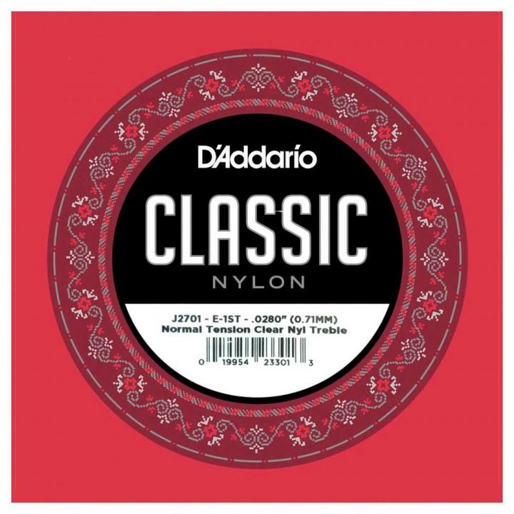 J2701 Струна гитарная нейлон №1 - D'Addario Classical нейлон, норм. натяжение
