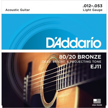 EJ11 BRONZE 80/20 Струны для акустической гитары бронза Light - D'ADDARIO (12-53)