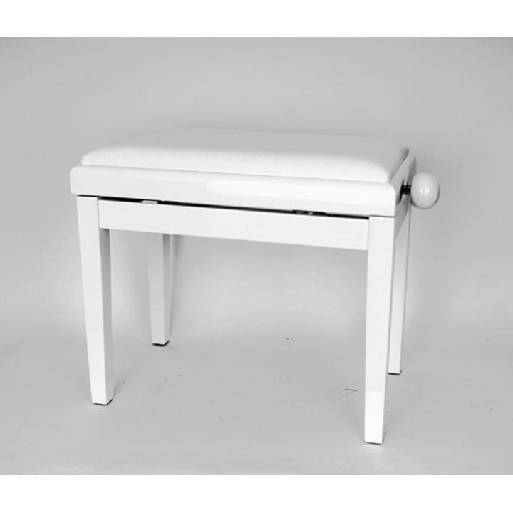HY-PJ018B-GLOSS-WHITE Банкетка для пианиста, цвет белый - Rin (вельвет)