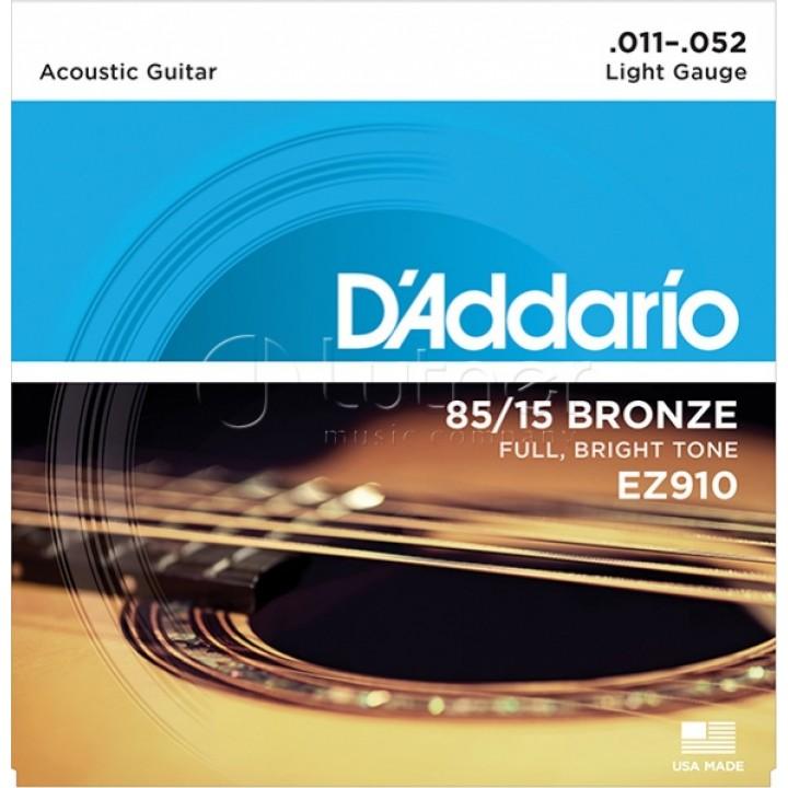 EZ910 AMERICAN BRONZE 85/15 Струны для акустической гитары - D`Addario Light 11-52