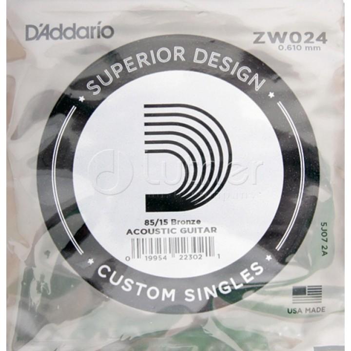 ZW024 Одиночная струна - D'ADDARIO  бронза 85/15