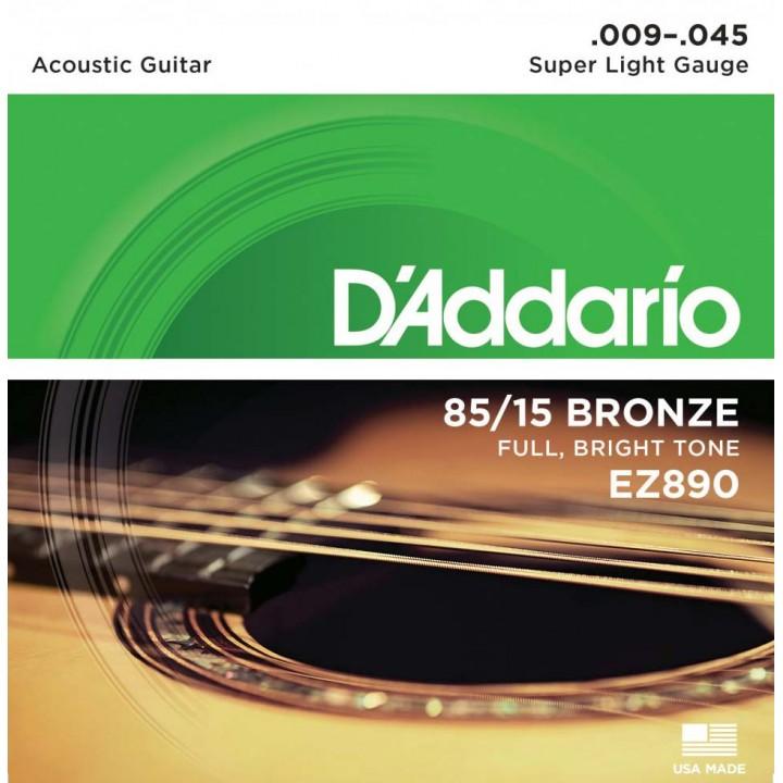 EZ890 Струны для акустической гитары - D'ADDARIO Super Light (9-45)